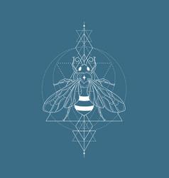 Honey bee and logo design element vector
