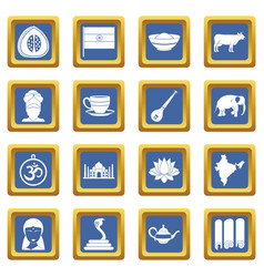 India travel icons set blue vector