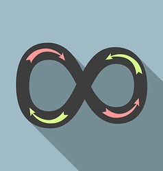 Infinity sign with arrows vector image