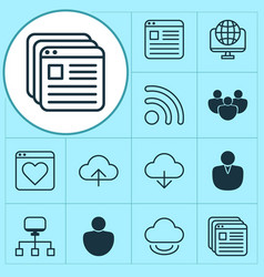 Internet icons set with group browser user vector