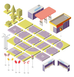 isometric city constructor with 3d elements vector image