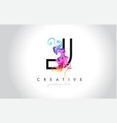 j vibrant creative leter logo design vector image