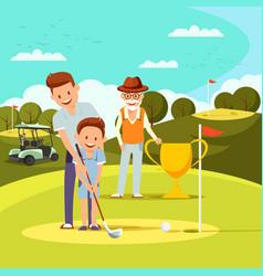 Joyful father teaching little boy to play golf vector