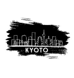 kyoto japan skyline silhouette hand drawn sketch vector image