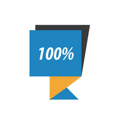Label hundred percent blue yellow black vector
