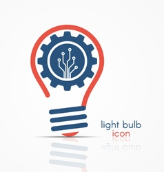 light bulb idea icon with gear and circuit board vector image
