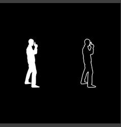 man with gun hazard concept icon set white color vector image