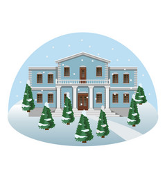 manor house in winter vector image