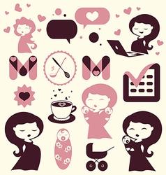 Maternity cartoon icons vector