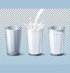 milk splash pouring in glass cup 3d mockup vector image