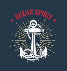 nautical marine emblem anchor and wording vector image