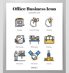 office business icons linecolor pack vector image