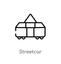 Outline streetcar icon isolated black simple line vector