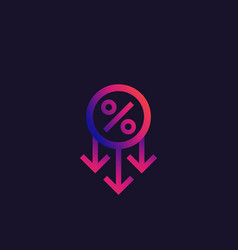 Percent down reduction and decline icon vector