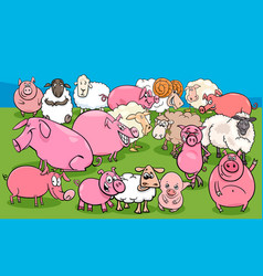 Pigs and sheep farm animal characters group vector