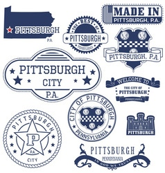 Pittsburgh city pennsylvania stamps and seals vector