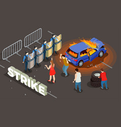 police isometric background vector image