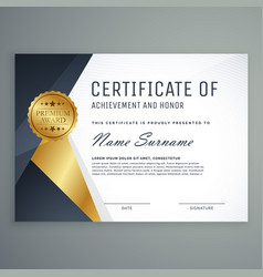 Premium certificate of appreciation award design vector
