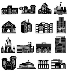 Public buildings icons set vector image