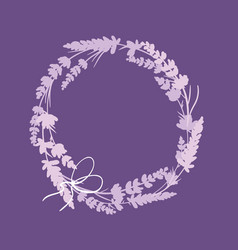 Purple lavender flowers wreath decor arrangement vector