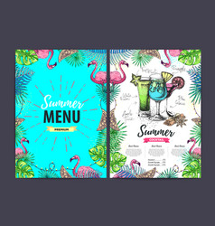 Restaurant summer cocktail menu vector