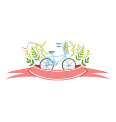 Ribbon with bicycle and plants template st vector