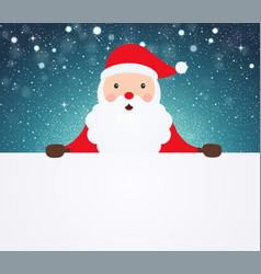 santa claus pointing in white blank cloth vector image
