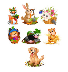 set cute animals and harvest ripe vegetables vector image