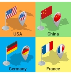 Set flags and GPS location symbol USA China vector image
