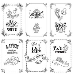 set of black vintage frames isolated on white vector image