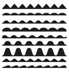 Set of seamless zigzag and wave borders design vector