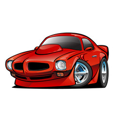 seventies american classic muscle car cartoon vector image