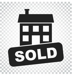 Sold house icon in flat style on isolated vector