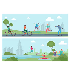 sports people in city park outdoor activity vector image