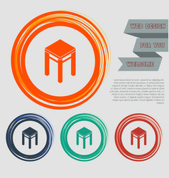 stool icons on the red blue green orange buttons vector image