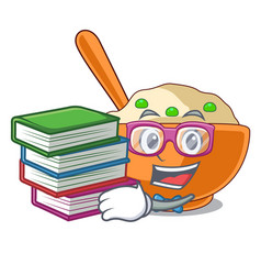 Student with book mashed potato above in cartoon vector
