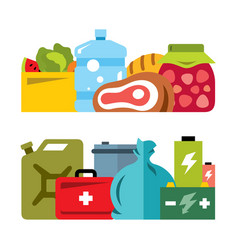 Survival kit flat style colorful cartoon vector
