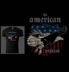 t-shirt design american patriot with bald eagle vector image