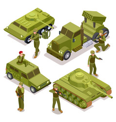 tank soldiers and military cars flat 3d vector image