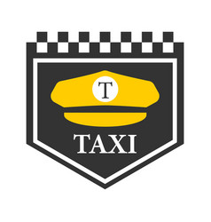 Taxi logo with black and white checkers driver vector