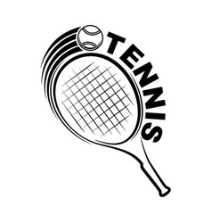 tennis outline silhouette with racket vector image