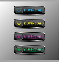 the set of black web buttons with colored vector image