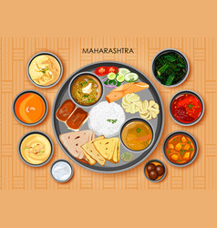 Traditional maharashtrian cuisine and food meal vector