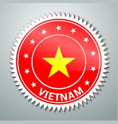 Vietnamese flag label vector image