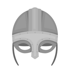 Viking helmet icon in monochrome style isolated on vector