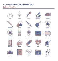 vintage medical icon set - 25 flat line icon set vector image
