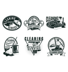 Vintage professional cleaning service labels set vector