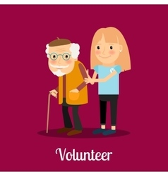 Volunteer girl caring for elderly man vector image