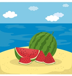 Watermelon Fruit Slice at the Beach vector image