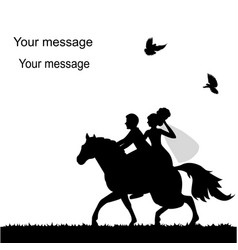 wedding card with a bride and groom on a horse vector image